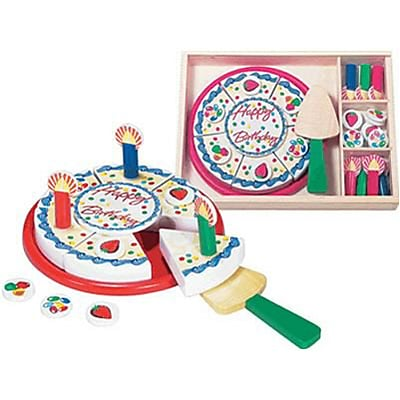 Wooden Set, Birthday Party Play Foods, 34 Pieces