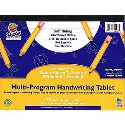 Zaner-Bloser™ and D'Nealian™ Handwriting Papers, Grade K-1, 10 1/2 x 8, 40 sheets