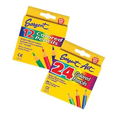 Sargent Art Half Size Colored Pencils, Assorted Colors, 12/Box (SAR227214)