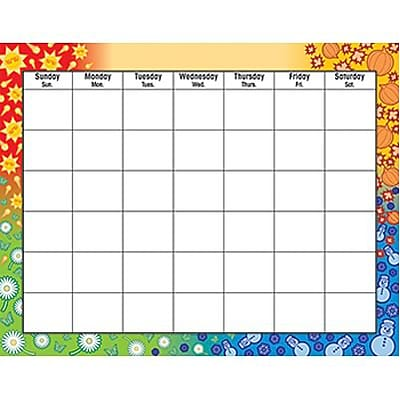 Four Seasons Wipe-Off® Monthly Calendar Grid