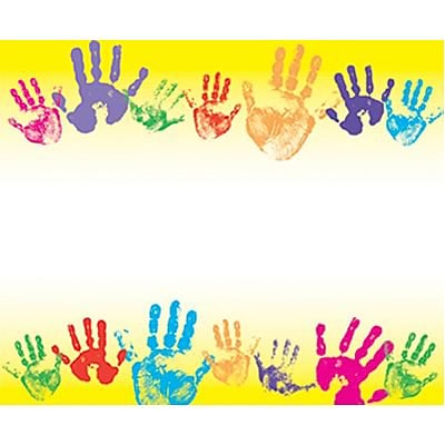 Rainbow Handprints Self-Adhesive Name Tags; 3 x 2-1/2, 40/Pack