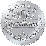 Trend Excellence (Silver) Award Seals Stickers, 32 ct. (T-74004)