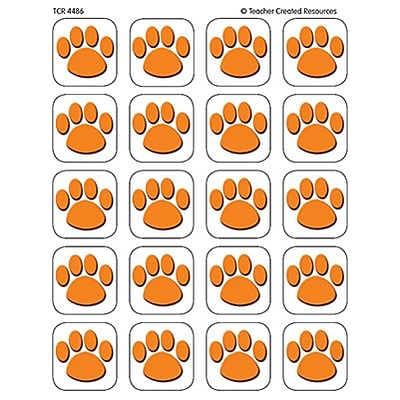 Teacher Created Resources Stickers; Orange Paw Print