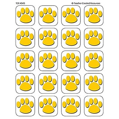 Teacher Created Resources Stickers; Gold Paw Print