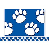 Blue with White Paw Prints Border Trim