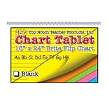 Top Notch Teacher Products Chart Tablet, 16 x 24, Blank Writing Paper, Brite Assorted Colors, 25 S