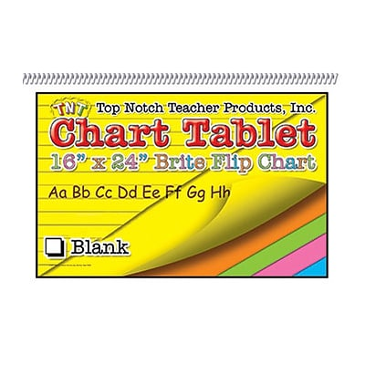 Top Notch Chart Tablet; Assorted, 16x24, Blank