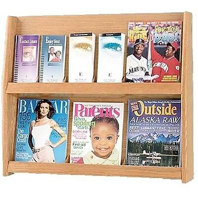 Wooden Mallet Divided Oak Literature Display; Up to 12 Pockets, Horizontal