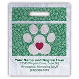 Medical Arts Press® Veterinary Personalized Small 2-Color Supply Bags, Large Paw Print w/Heart