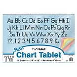 Colored Paper Chart Tablets, 1 Ruled, Cursive Cover, 24 x 16
