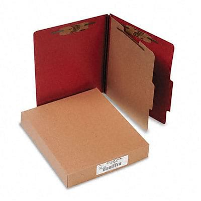 Pressboard 25-Point Classification Folder, Ltr, 4-Section, Earth Red, 10/bx