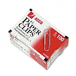Acco® Smooth Finish Economy Paper Clips; Steel, No. 3, Silver, 100/Box, 10 Bxs/Pk
