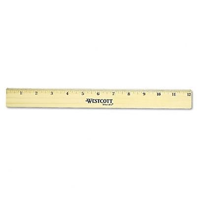 Flat Wood Ruler with Two Double Brass Edges, 12, Clear Lacquer Finish