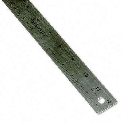 Stainless Steel Ruler with Cork Back and Hanging Hole, 12, Silver