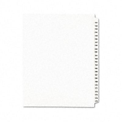 Avery-Style Legal Side Tab Dividers, 25-Tab, 151-175, Letter, WE, 25/set