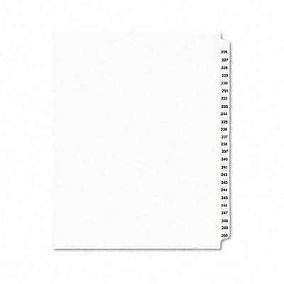 Avery-Style Legal Side Tab Dividers, 25-Tab, 226-250, Letter, WE, 25/set