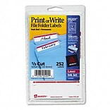 Avery® Print or Write File Folder Labels; Dark Red, 11/16x3-7/16, 252 Labels