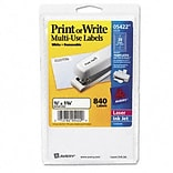 Avery® Removable Print or Write Multipurpose Labels; White, 1/2x1-3/4, 840 Labels