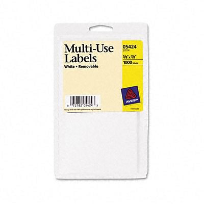 Avery® Removable Multipurpose Labels; White, 5/8x7/8, 1000 Labels