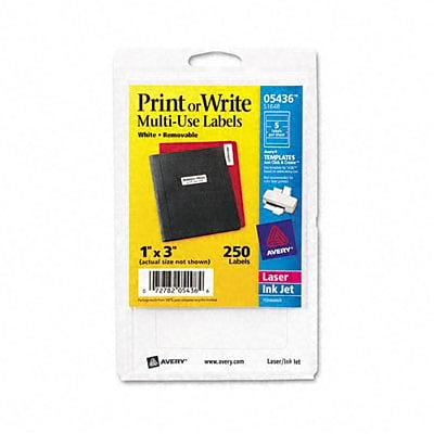 Avery® Removable Print or Write Multipurpose Labels; White, 1x3, 250 Labels