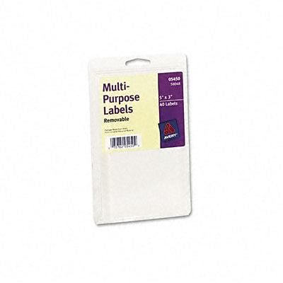 Avery® Removable Print or Write Multipurpose Labels; White, 3x5, 40 Labels