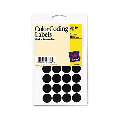 Avery® Color Coding Labels; Black, 3/4 Round, 1008/Pack