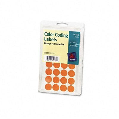 Avery® Print or Write Color Coding Labels; Orange, 3/4 Round, 1008/Pack