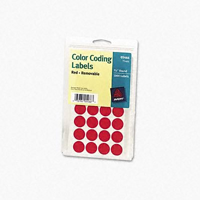 Avery® Color Coding Labels; Red, 3/4 Round, 1008/Pack