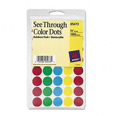 Avery® See-Through Color Coding Labels; Assorted Colors, 3/4 Round, 1015/Pack