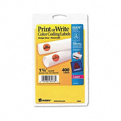 Avery® Print or Write Color Coding Labels; Neon Orange, 1-1/4 Round, 400/Pack