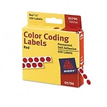 Avery® Color Coding Labels; Red, 1/4 Round, 450/Pack
