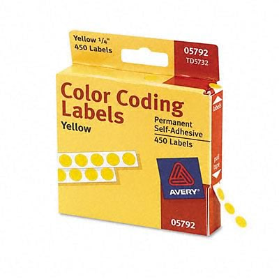 Avery® Color Coding Labels; Yellow, 1/4 Round, 450/Pack