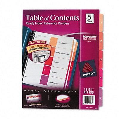 Ready Index Contemp Tbl Of Cntnts Dividers, 5-Tab, Letter, AST, 1 St/pk