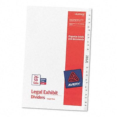 Avery-Style Legal Side Tab Dividers, 25-Tab, 26-50, 8.5 x 14, WE, 25/set