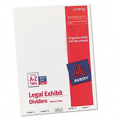 Avery-Style Lgl Bottom Tb Dividers, 27-Tb, Exhbt A-Z, Letter, WE, 27/set