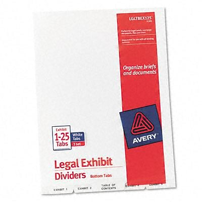 Avery-Style Lgl Bottom Tb Dividers, 25-Tb, Exhbt 1-25, 8.5 x11, WE, 25/St