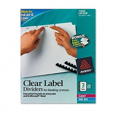 Index Maker Clear Label Dividers, 3-Tab, 8-1/2 x 11, White, 25 Sets/box