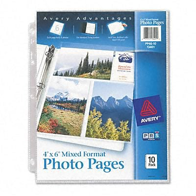 Avery® Photo Pages for Six 4 x 6 Mixed Format Photos; 3-Hole Punched, 10/Pack