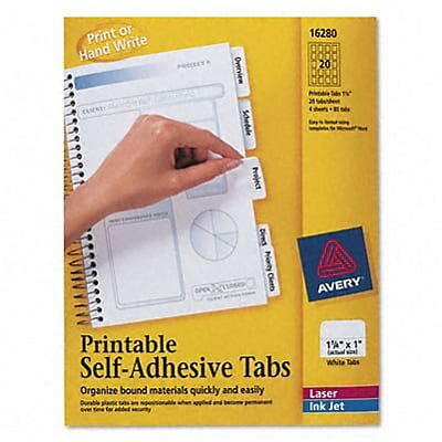 Printable Repositionable Plastic Tabs, 1-1/4in, White, 96/pack