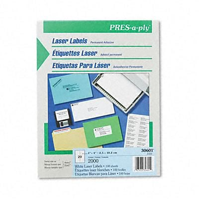 Avery® PRES-a-ply® Address Labels; White, 1x4, 2000 Labels
