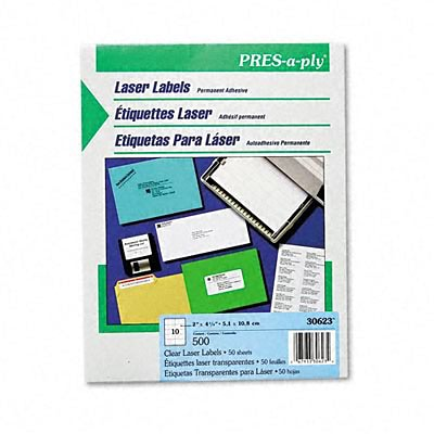 Avery® Clear Labels; Pres-A-Ply Laser Address, 4-1/4 x 2, Clear, 500/Box