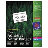 Avery® Self-adhesive EcoFriendly Laser and Inkjet Name Badges; 2-1/3x3-3/8, White, 160/Pack