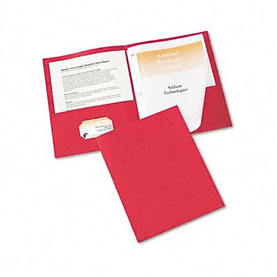 Paper Two-Pocket Report Cover, Tang Clip, Letter, 1/2 Capacity, Red, 25 per Box