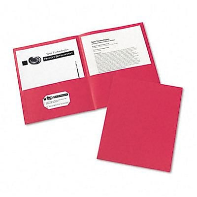 Two-Pocket Embossed Paper Portfolio, 30-Sheet Capacity, Red, 25 per Box