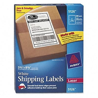 Avery® Shipping Labels; White, 5-1/2x8-1/2, 200 Labels