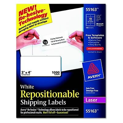 Avery® Removable Repositionable Shipping Labels; White, 2x4, 1000 Labels