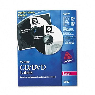 Avery® CD Labels; White, 4-5/8 Diameter, 250 Labels