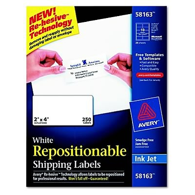 Avery® Removable Repositionable Shipping Labels; White, 2x4, 250 Labels