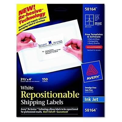 Avery® Removable Repositionable Shipping Labels; White, 3-1/3x4, 150 Labels