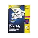 Clean Edge Laser Business Cards, 2 x 3-1/2, White, 10/Sheet, 400 Cards per Box